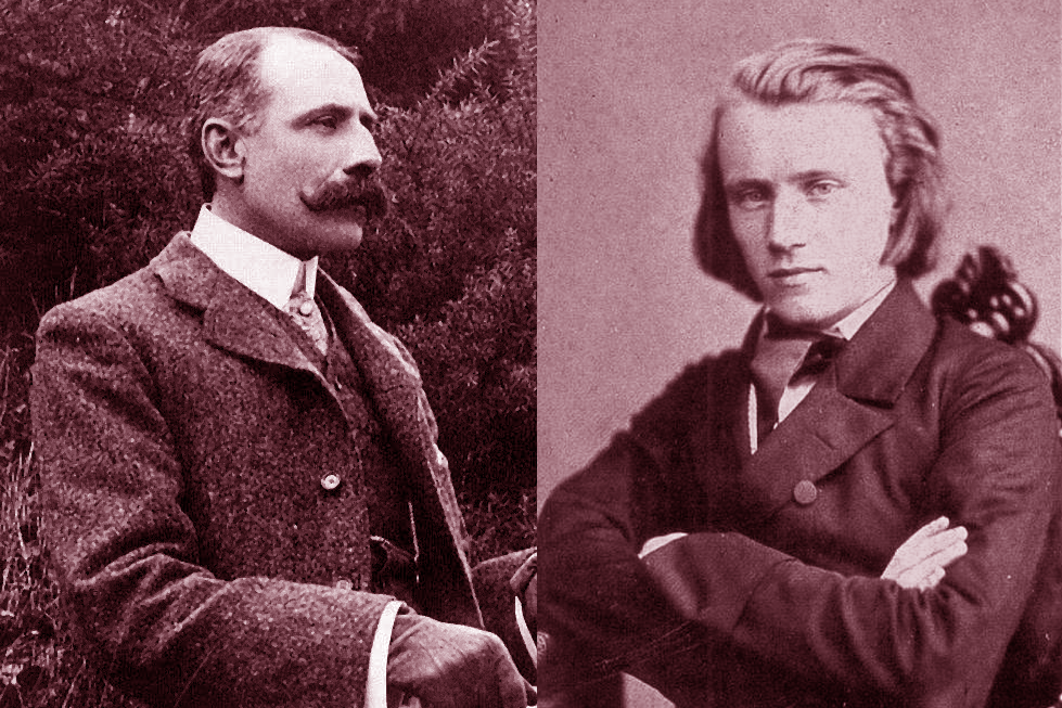 Composers Edward Elgar and Johannes Brahms