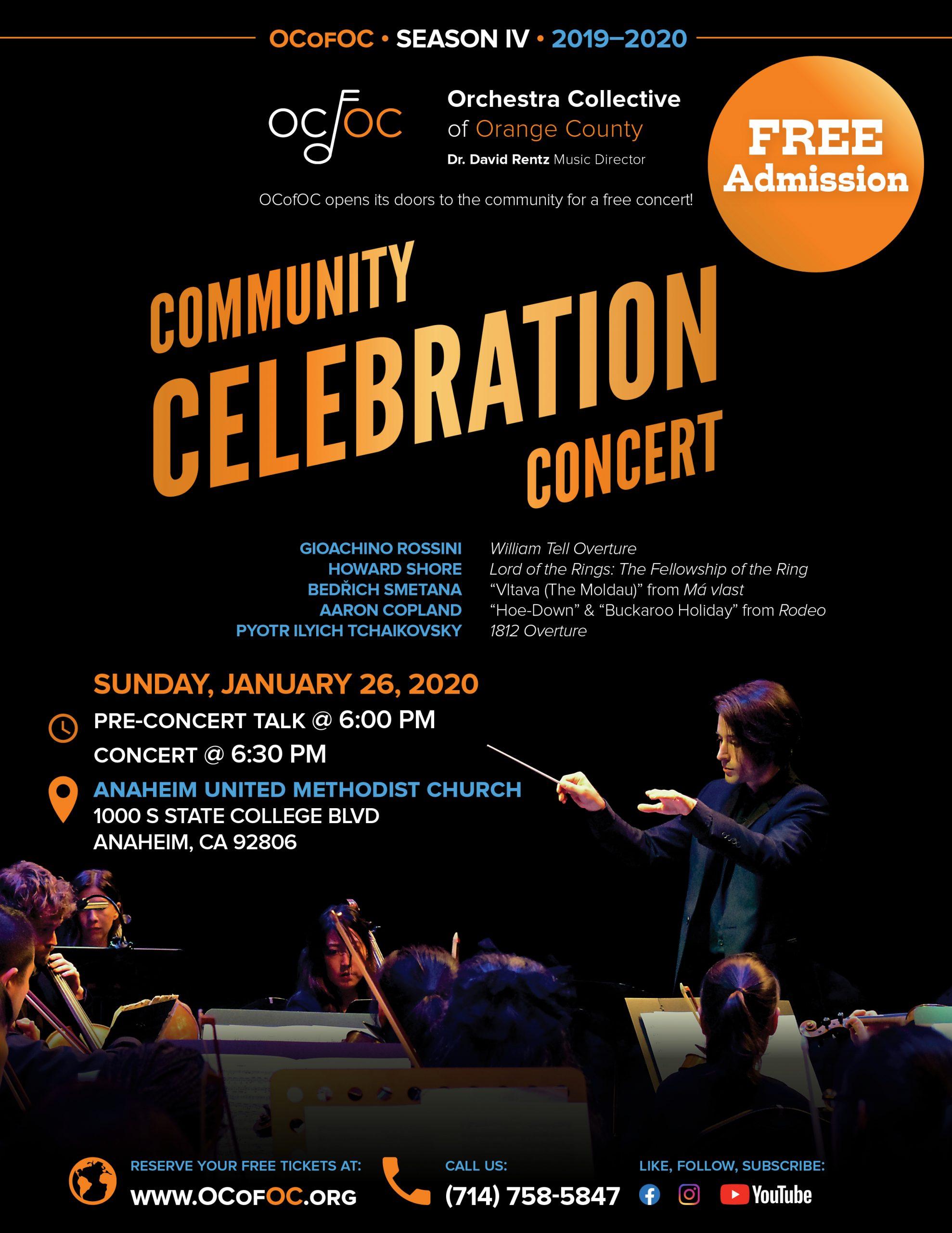 OCofOC Concert Flyer for 1-26-19 Concert